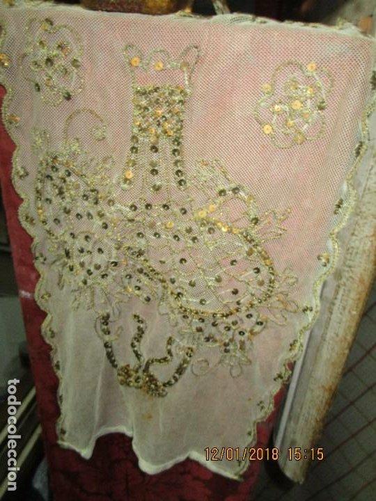 Antigüedades: MUY antiguo palio O PRENDA DE MUJER O VIRGEN bordado con hilos de SEDA Y oro - Foto 11 - 216856861