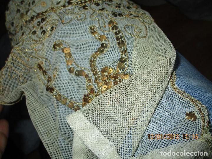 Antigüedades: MUY antiguo palio O PRENDA DE MUJER O VIRGEN bordado con hilos de SEDA Y oro - Foto 10 - 216856861