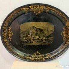 Antigüedades: BANDEJA ISABELINA CON PAISAJE. Lote 216866953