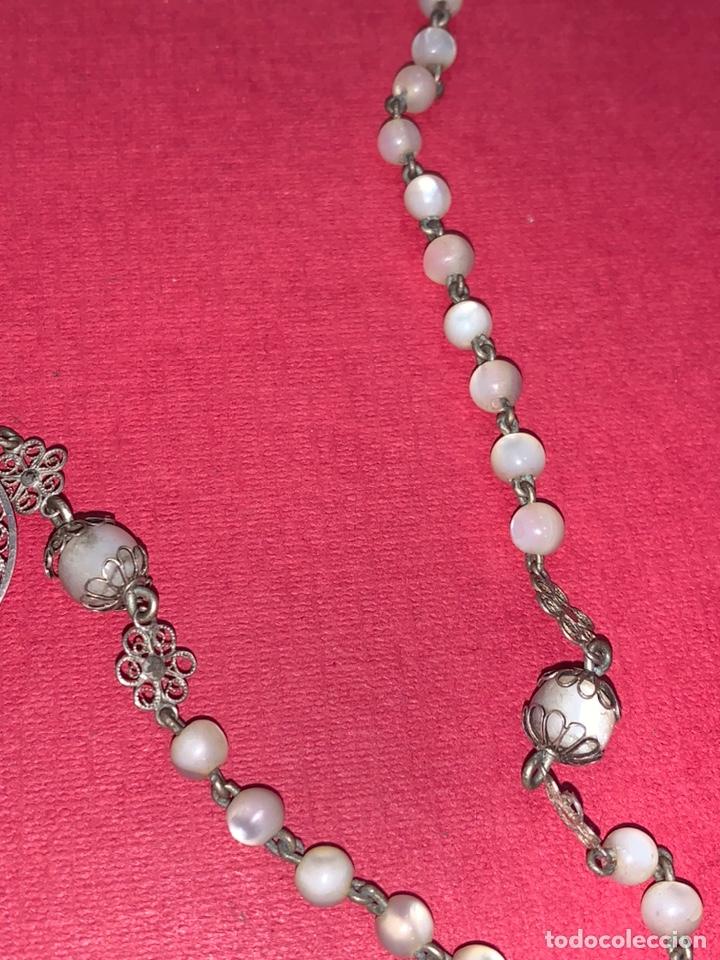 Antigüedades: Fantástico rosario antiguo en filigrana de plata y nácar. Isabelino. Siglo XIX - Foto 4 - 216868683