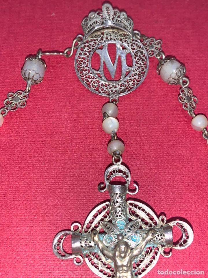 Antigüedades: Fantástico rosario antiguo en filigrana de plata y nácar. Isabelino. Siglo XIX - Foto 5 - 216868683