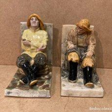 Antigüedades: PAREJA DE FIGURAS SUJETALIBROS EN CERÁMICA CELTA DE PONTECESURES. Lote 216879426
