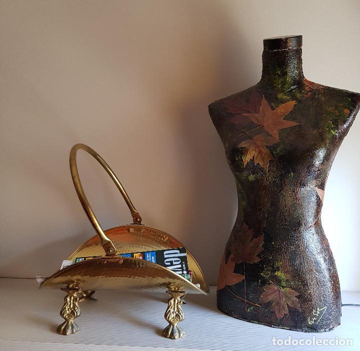 Antigüedades: LEÑERA DE BRONCE Y LATÓN - Foto 2 - 216894862