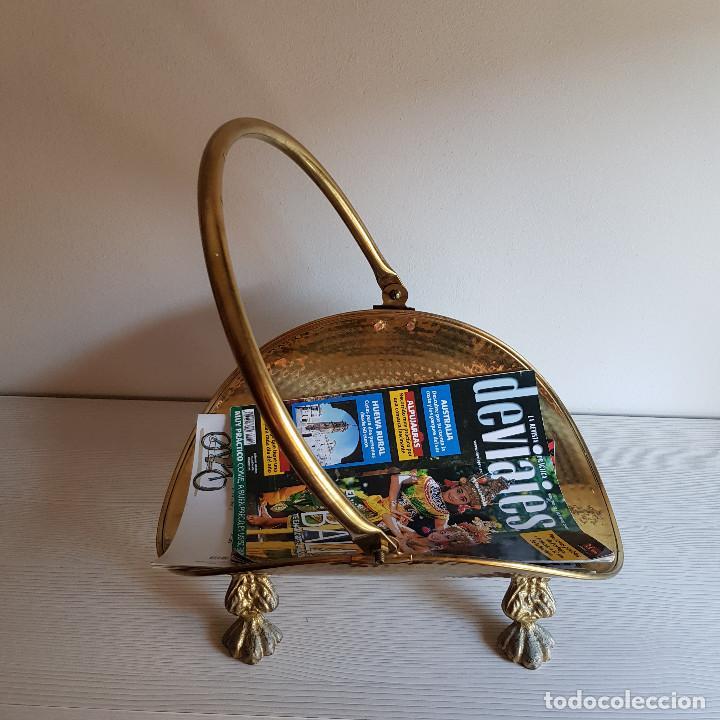 Antigüedades: LEÑERA DE BRONCE Y LATÓN - Foto 5 - 216894862