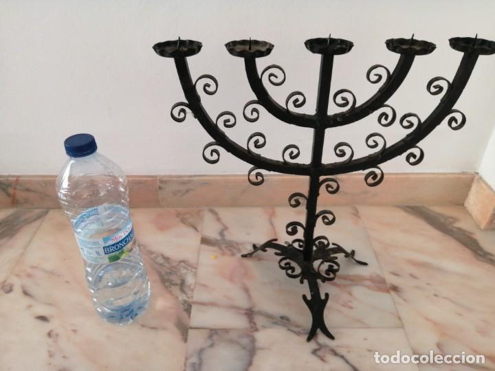 Antigüedades: Antiguo Candelabro de forja - Foto 7 - 216900402