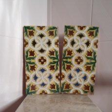 Antigüedades: ANTIGUA Y BONITA PAREJA DE AZULEJOS DE MENSAQUE RODRÍGUEZ TRIANA (SEVILLA). Lote 216906513