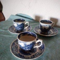 Antiquités: ANTIGUO TRIO DE CAFÉ DE PORCELANA OLD ENGLAND ROYAL TUDOR WARE STAFFORDSHIRE,AZUL.. Lote 216911948