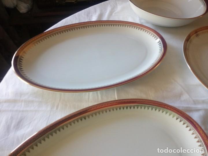 Antigüedades: Vajilla incompleta de porcelana bohemia made in czechoslovakia,17 piezas.borde granate y oro - Foto 5 - 216949376