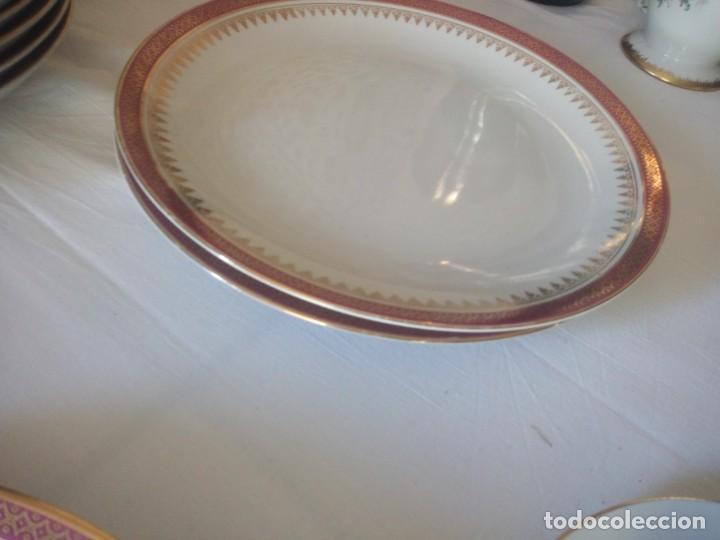 Antigüedades: Vajilla incompleta de porcelana bohemia made in czechoslovakia,17 piezas.borde granate y oro - Foto 8 - 216949376