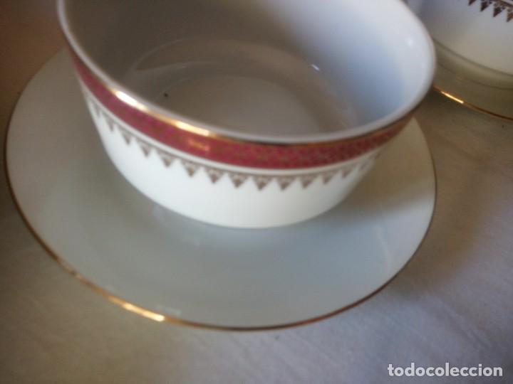Antigüedades: Vajilla incompleta de porcelana bohemia made in czechoslovakia,17 piezas.borde granate y oro - Foto 9 - 216949376