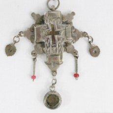 Antigüedades: RELICARIO CRUZ PECTORAL EN PLATA Y CORAL S XVI. ENKOLPIA. Lote 216957817