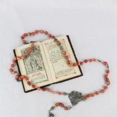 Antigüedades: GRAN ROSARIO DE PLATA EN FILIGRANA Y CORAL AÑOS 1850. Lote 216959488