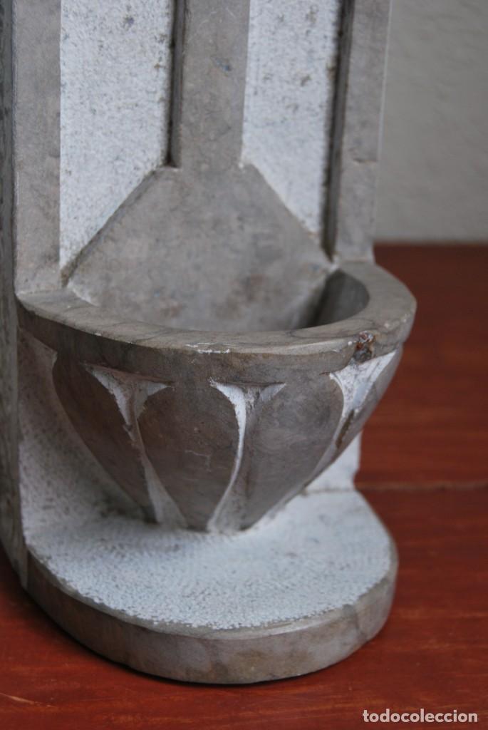 Antigüedades: ANTIGUA BENDITERA DE PIEDRA TALLADA - Foto 9 - 216960337