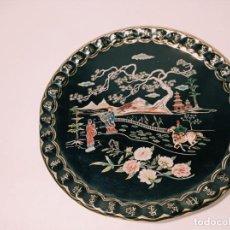 Antigüedades: ORIGINAL PLATO DE HOJA DE LATA MOTIVOS CHINO ASIÁTICO. Lote 216977132