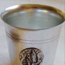 Antigüedades: PEQUEÑO VASO DE METAL RECUERDO DEL LUNES. Lote 217013242