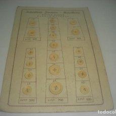 Antigüedades: EXPOSITOR DE ANTIGUOS BOTONES DE HUESO NATURAL. INDUSTRIAS JIMENEZ, BARCELONA. Lote 217034421