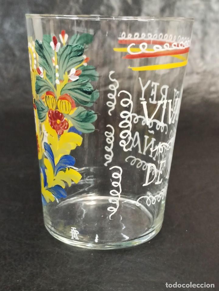 """Antigüedades: Vaso de vidrio esmaltado """"Viva el Rey de España"""". OF - Foto 3 - 217064051"""