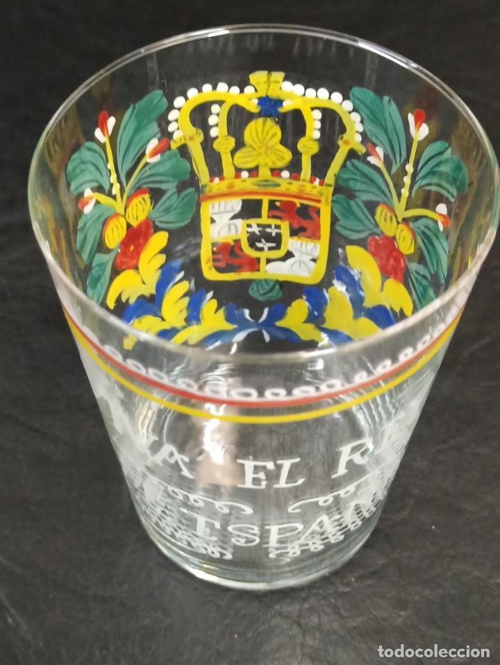 """Antigüedades: Vaso de vidrio esmaltado """"Viva el Rey de España"""". OF - Foto 4 - 217064051"""