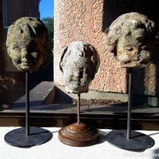 Antigüedades: CONJUNTO DE 3 CABEZAS DE ANGELES DEL SIGLO XIX. ITALIA. Lote 217074670