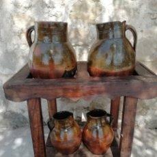 Antigüedades: CANTARERA Y CUATRO CÁNTAROS DE BARRO. Lote 217110597