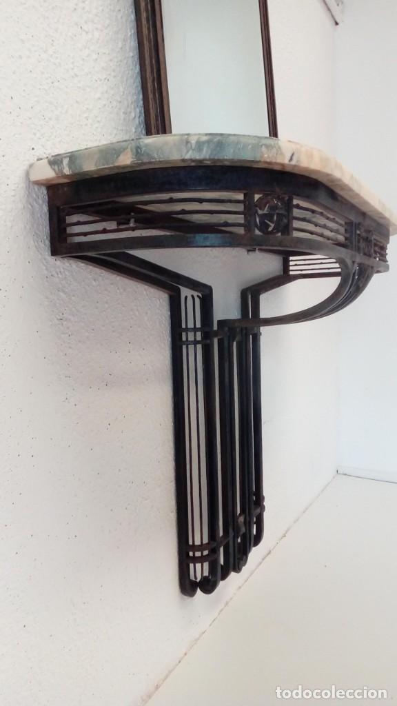 Antigüedades: consola art deco de forja y marmol- - Foto 2 - 217111993