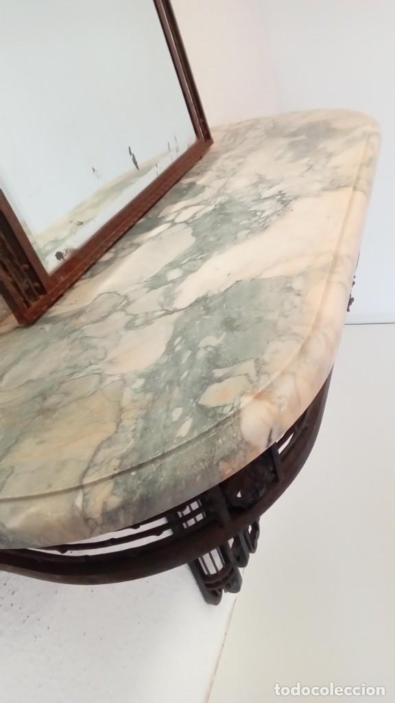 Antigüedades: consola art deco de forja y marmol- - Foto 3 - 217111993