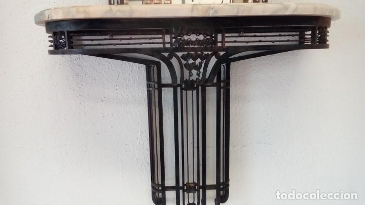 Antigüedades: consola art deco de forja y marmol- - Foto 4 - 217111993