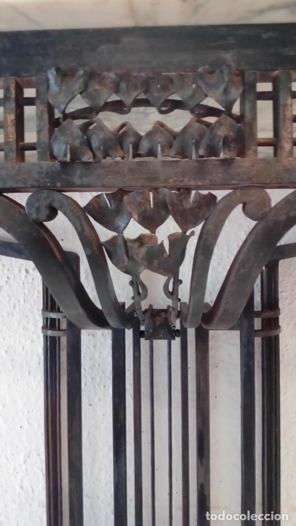 Antigüedades: consola art deco de forja y marmol- - Foto 8 - 217111993