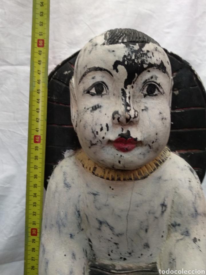 Antigüedades: Niño Buda talla asiática antigua siglo XVIII - Foto 2 - 217126007