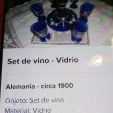 Antigüedades: SET DE VINO, CON MÁS DE 100 AÑOS. DIBUJOS EN ORO. Lote 217131061