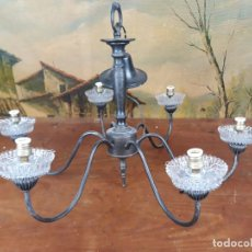 Antigüedades: BONITA LAMPARA DE COLGAR DE 6 PATAS. Lote 217134028