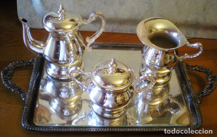 EXCELENTE SERVICIO DE CAFÉ-TÉ Y BANDEJA EN ALPACA, A ESTRENAR (Antigüedades - Plateria - Varios)