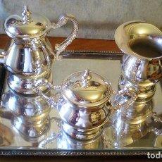 Antigüedades: EXCELENTE SERVICIO DE CAFÉ-TÉ Y BANDEJA EN ALPACA, A ESTRENAR. Lote 217157168