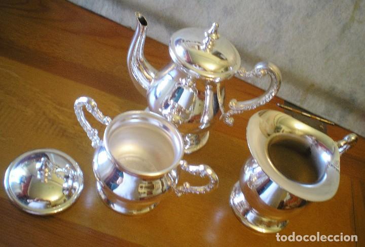 Antigüedades: EXCELENTE SERVICIO DE CAFÉ-TÉ Y BANDEJA EN ALPACA, A ESTRENAR - Foto 5 - 217157168