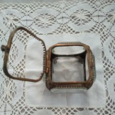 Antigüedades: RELICARIO JOYERO CRISTAL LATON. Lote 217184147