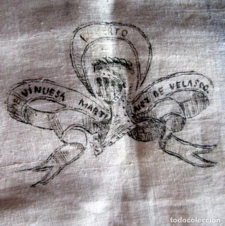 Antigüedades: PAÑUELO DE LINO PARA LUTO-51 cm- MUY ANTIGUO - Foto 3 - 217202926