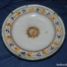 Antigüedades: ( M ) ANTIGUO PLATO DE CERAMICA DE RIBESALBES, NINGUNA ROTURA 28 CM. SEÑALES DE USO. Lote 217212306