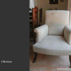 Antigüedades: 2 BUTACAS (HOY CON OTRA TAPICERÍA). Lote 217217861
