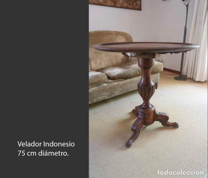 VELADOR INDONESIO 75 CM DIÁMETRO (Antigüedades - Muebles Antiguos - Mesas Antiguas)