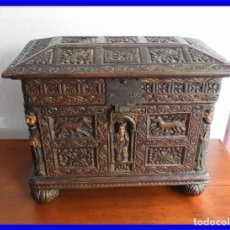 Antiguidades: ARQUETA DE MADERA S. XIX CON TALLA. Lote 248243675
