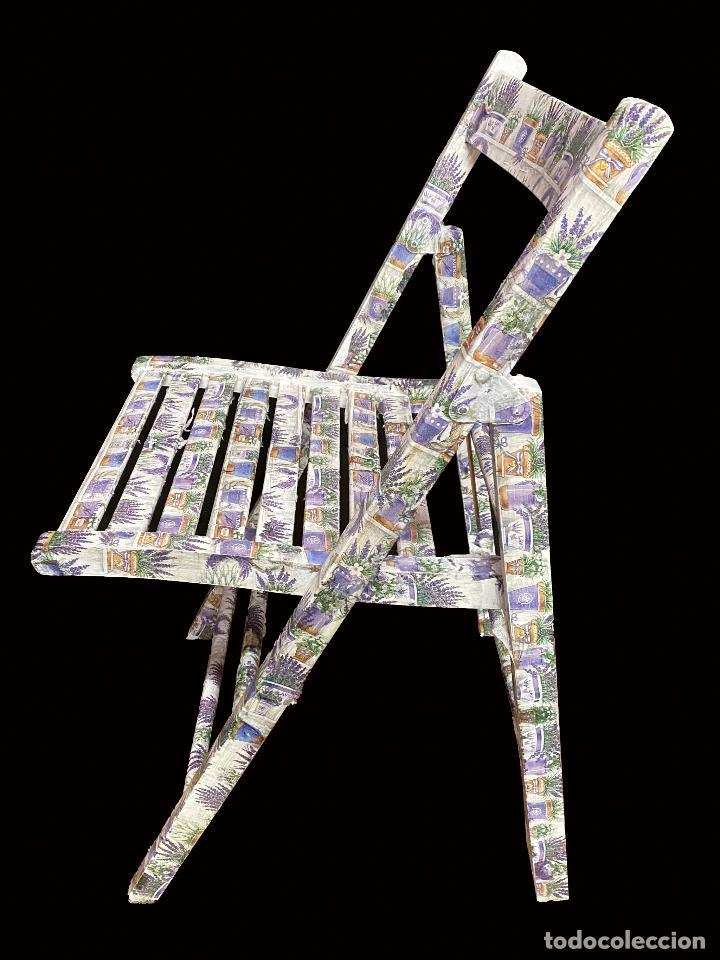 Antigüedades: silla de madera plegable decorada con lavandas, - Foto 2 - 217245675