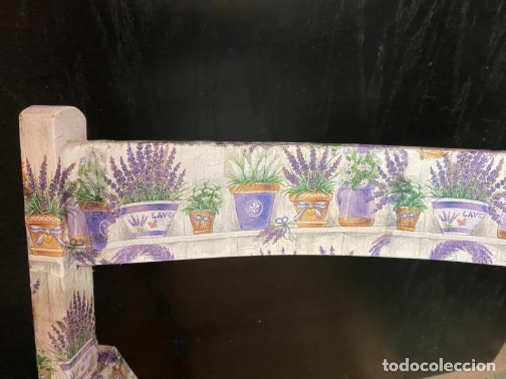 Antigüedades: silla de madera plegable decorada con lavandas, - Foto 3 - 217245675