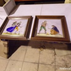 Antiguidades: BONITA PAREJA DE CUADROS CON AZULEJO CERAMICA PINTADA A MANO FERRAN GUALL NO COLGADOS NUNCA. Lote 217263590