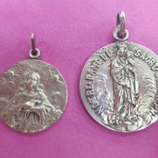 Antigüedades: LOTE 2 MEDALLAS DE VIRGEN MARÍA, DE PLATA. Lote 217272246