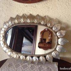 Antigüedades: ESPEJO SOL DE METAL OVALADO 68 CM DE LARGO. Lote 217285320