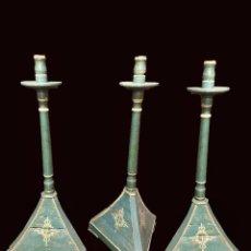 Antigüedades: ANTIGUO CANDELABRO, CIRIAL, FACISTOL, HACHERO DE MADERA , CRUZ DE CALATRAVA. S. XIX. 130X60X60. Lote 172477542