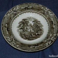 Antigüedades: (M) PLATO ANTIGUO CARTUJA DE SEVILLA PICKMAN, ESCENA DE CAMPO, 22CM, BUEN ESTADO. Lote 217350378