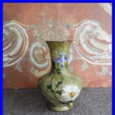 Antigüedades: JARRON DE CRISTAL DE OPALINA PINTADO A MANO. Lote 217486143