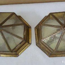 Antigüedades: APLIQUES METAL Y CRISTAL. Lote 217493377