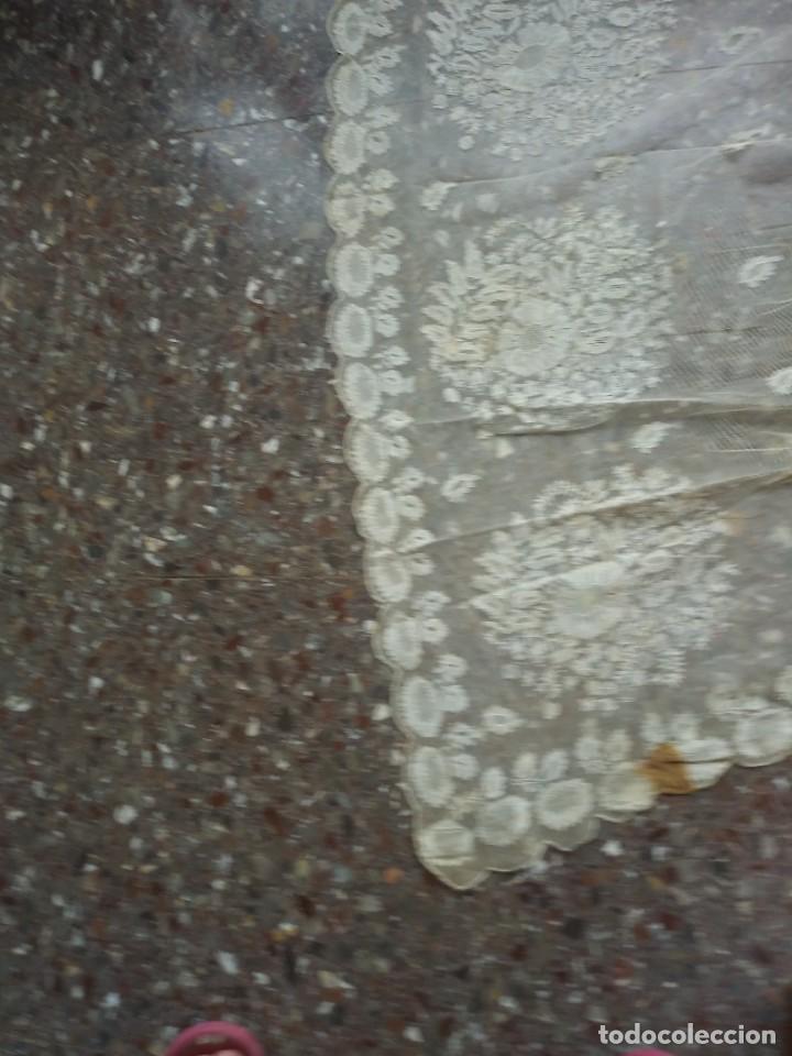 Antigüedades: ANTIGUO TUL BORDADO DELANTAL LEER - Foto 8 - 217517087
